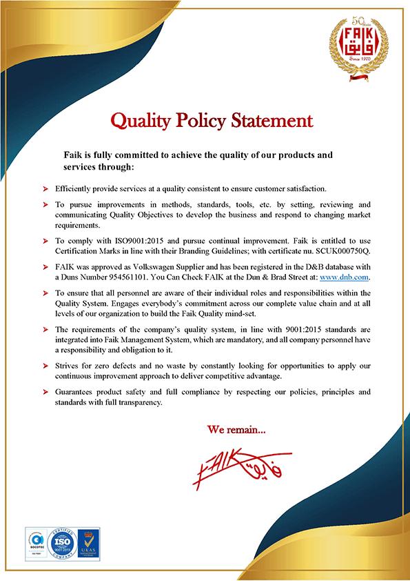 Quality Policy Statement